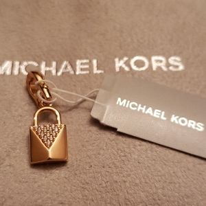 Michael Kors Nwt Rose Gold Crystal Pave Lock Charm